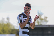 Forest Green Rovers Omar Bugiel(11) applauds the fans at the end of the match during the Vanarama National League match between Southport and Forest Green Rovers at the Merseyrail Community Stadium, Southport, United Kingdom on 17 April 2017. Photo by Shane Healey.