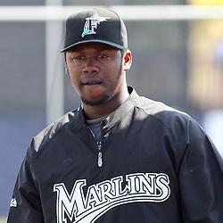March 15, 2011; Port Charlotte, FL, USA; Florida Marlins shortstop Hanley Ramirez (2) before a spring training exhibition game Tampa Bay Rays at Charlotte Sports Park.   Mandatory Credit: Derick E. Hingle