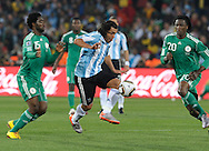 Argentina's forward midfielder Carlos Tevez controls the ball during the World Cup South Africa 2010 soccer match against Nigeria, at Soccer City stadium, in Johannesburgo, South Africa, on June 12, 2010.  (Alejandro Pagni/PHOTOXPHOTO)