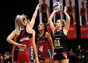 Magic goal attack Monica Falkner lines up a shot at goal during the ANZ Premiership netball match - Magic v Tactix played at Claudelands Arena, Hamilton, New Zealand on 30 July 2018.<br /> <br /> Copyright photo: &copy; Bruce Lim / www.photosport.nz