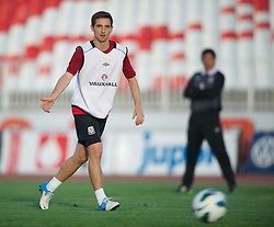 NOVI SAD, SERBIA - Monday, September 10, 2012: Wales' Joe Allen during a training session at the Karadorde Stadium ahead of the 2014 FIFA World Cup Brazil Qualifying Group A match against Serbia. (Pic by David Rawcliffe/Propaganda)