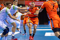 11-04-2019 NED: Netherlands - Slovenia, Almere<br /> Third match 2020 men European Championship Qualifiers in Topsportcentrum in Almere. Slovenia win 26-27 / Ivo Steins #17 of Netherlands, Blaz Blagotinsek #3 of Slovenia
