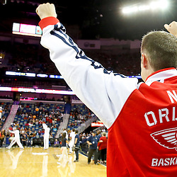 Oct 23, 2013; New Orleans, LA, USA; New Orleans Pelicans power forward Jason Smith (14) against the Miami Heat during the first half of a preseason game at New Orleans Arena. Mandatory Credit: Derick E. Hingle-USA TODAY Sports