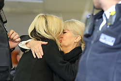 © Licensed to London News Pictures. 23/12/2019. London, UK. A friend hugs Radio presenter and Love Island host CAROLINE FLACK as she leaves Highbury Corner Magistrates' Court after pleading not guilty to the charged for actual bodily harm. CAROLINE FLACK will appear before a Crown Court in March for a jury trail.  Photo credit: Dinendra Haria/LNP