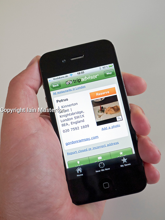 Tripadvisor entry for Petrus restaurant on iPhone 4G smart phone