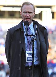 Feb 7, 2012; East Rutherford, NJ, USA; New York Giants owner John Mara speaks during the New York Giants Super Bowl XLVI Rally at MetLife Stadium.