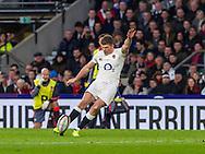 Owen Farrell takes a kick, England v France in a RBS 6 Nations match at Twickenham Stadium, London, England, on 4th February 2017.