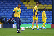 AFC Wimbledon defender Kyron Stabana (14) warming up during the EFL Sky Bet League 1 match between Southend United and AFC Wimbledon at Roots Hall, Southend, England on 12 October 2019.
