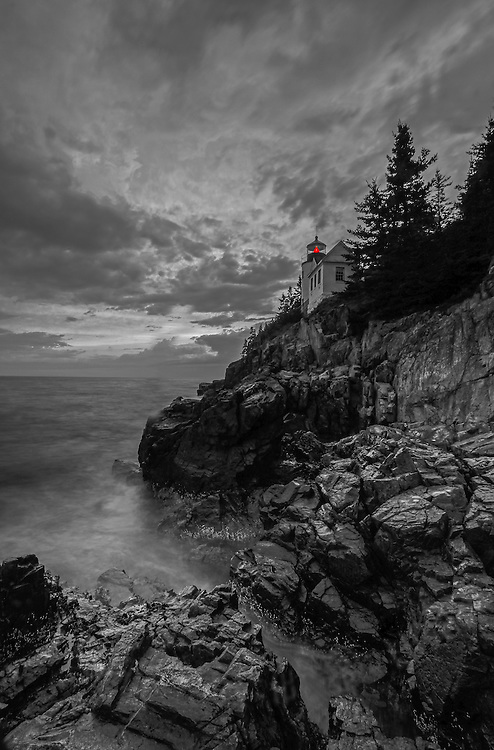 Beacon of Safety features the iconic Bass Harbor Head Light, a picturesque lighthouse located on Mount Desert Island within Maine Acadia National Park on the southeast corner of MDI. The lighthouse towers over the swirling Atlantic Ocean and seacoast, marking the entrance to Bass Harbor and Blue Hill Bay. It is one of the most iconic scenery of Acadia NP as Bass Harbor Light is dramatically located on the edge of rugged cliffs.<br />