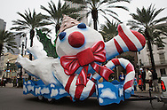 Mr Bingle snowman float in the sixth annual Krewe of Jingl New Orleans Christmas Parade. New Orleans has become one of the top tourist holiday destinations in the America.
