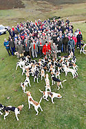 Blencathra Foxhounds during a party hunt in Cumbria.  A traditional Lake District foot pack hunting foxes in rough terrain, using hounds descended from those hunted by John Peel in the 19th century...Photographer: Ben Russell