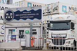 © Licensed to London News Pictures. 20/09/2016. Portsmouth, UK. A fruit cargo lorry leaving the entrance to the MMD Shipping Services Ltd yard at Flathouse Quay in Portsmouth Dockyard. The cargo company, owned by Portsmouth City Council, has come under the spotlight of the European Commission's competition unit over whether a bailout from Portsmouth City Council gave the company an unfair advantage over it's competitors. The investigation comes after the UK's vote to leave the European Union. Photo credit: Rob Arnold/LNP