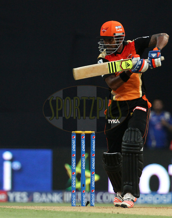 Sunrisers Hyderabad player KL Rahul plays a shot during match 23 of the Pepsi IPL 2015 (Indian Premier League) between The Mumbai Indians and The Sunrisers Hyderabad held at the Wankhede Stadium in Mumbai India on the 25th April 2015.<br /> <br /> Photo by:  Vipin Pawar / SPORTZPICS / IPL