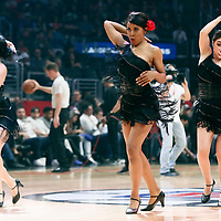 25 March 2016: LA Clippers Dancers perform during the Los Angeles Clippers 108-95 victory over the Utah Jazz, at the Staples Center, Los Angeles, California, USA.