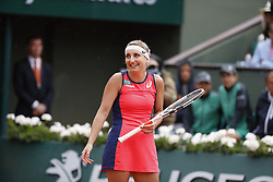 Switzerland's Timea Bacsinszky playing in the 1/4 final round vs France's Kristina Mladenovic in the 2017 French Tennis Open in Paris, France on June 6th, 2017. Photo by Henri Szwarc/ABACAPRESS.COM