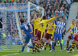 Dale Stephens of Brighton & Hove Albion scores to make it 1-0 - Mandatory by-line: Paul Terry/JMP - 02/04/2016 - FOOTBALL - Amex Stadium - Brighton, England - Brighton and Hove Albion v Burnley - Sky Bet Championship