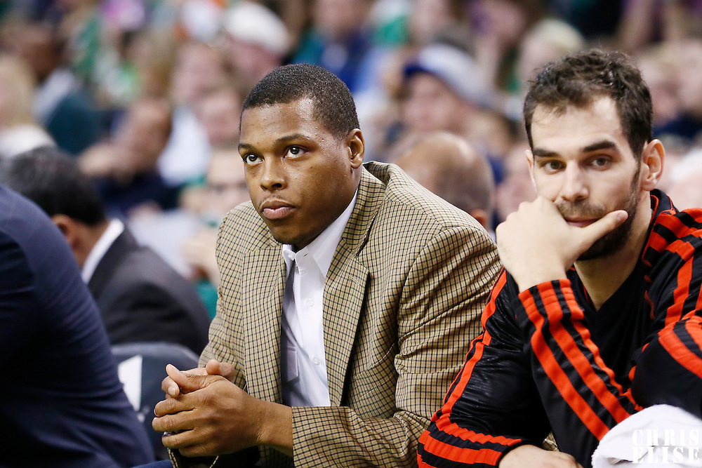 17 November 2012: Toronto Raptors point guard Kyle Lowry (3) is seen on the bench next to Toronto Raptors point guard Jose Calderon (8) during the Boston Celtics 107-89 victory over the Toronto Raptors at the TD Garden, Boston, Massachusetts, USA.