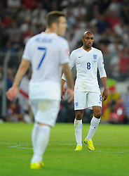 England's Jack Wilshere (Arsenal) right and England's Fabian Delph (Aston Villa) left - Photo mandatory by-line: Joe Meredith/JMP - Mobile: 07966 386802 - 08/09/14 - SPORT - FOOTBALL - Switzerland - Basel - St Jacob Park - Switzerland v England - Uefa Euro 2016 Group E Qualifier