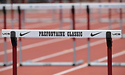 Jun 30, 2019; Stanford, CA, USA; Detailed view of UCS hurdle with Nike swosh logo during the 45th Prefontaine Classic at Cobb Track & Angell Field.