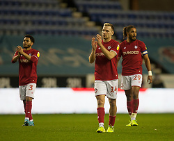 Andi Weimann of Bristol City (C) applauds the fans at the final whistle - Mandatory by-line: Jack Phillips/JMP - 11/01/2020 - FOOTBALL - DW Stadium - Wigan, England - Wigan Athletic v Bristol City - English Football League Championship