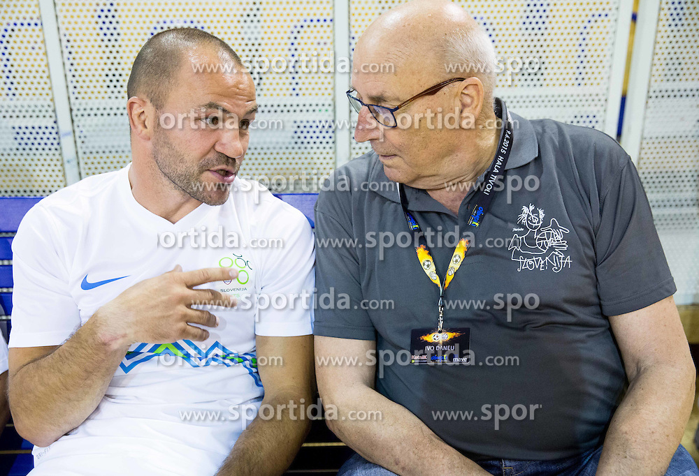 Dejan Zavec and Ivo Daneu during football and basketball charity event All Legends by Olimpiki, on June 9, 2015 in Hala Tivoli, Ljubljana, Slovenia. Photo by Vid Ponikvar / Sportida