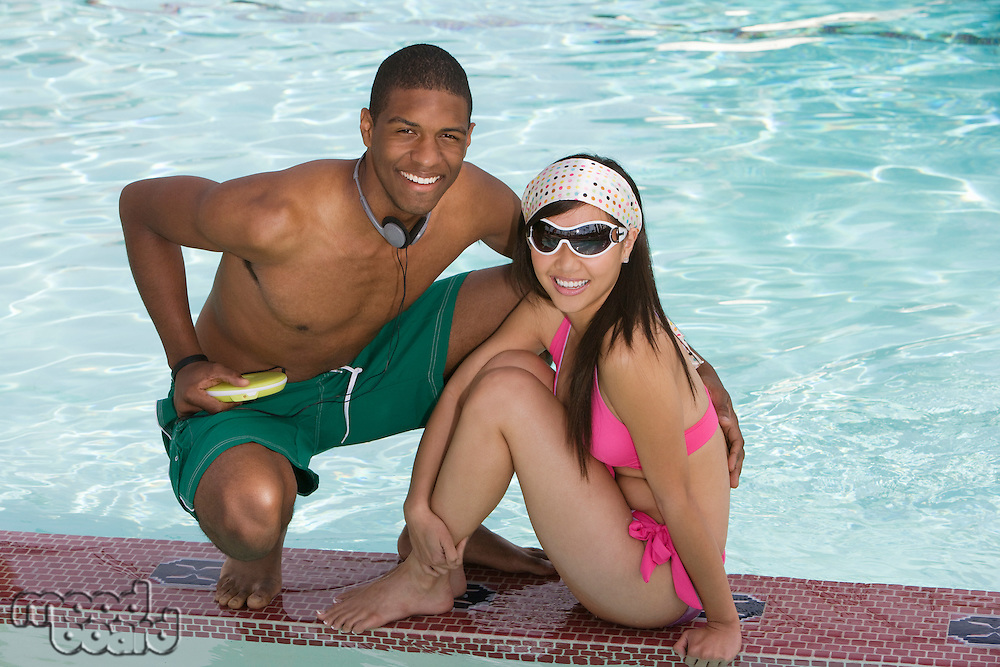 Young Couple by Swimming Pool, Portrait