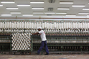 Montes Claros_MG, Brasil.<br /> <br /> Fios de algodao na macaroqueira no setor de fiacao da fabrica de Tecidos em Montes Claros, Minas Gerais.<br /> <br /> Cotton yarn in the roving frame in the spinning factory in Montes Claros, Minas Gerais.<br /> <br /> Foto: LEO DRUMOND / NITRO