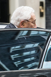 Downing Street, London, October 25th 2016. Former US Secretary of State Henry Kissinger visits British Prime Minister Theresa May at her official residence.