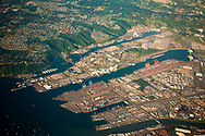 Aerial view of the Seattle harbor, Washington.