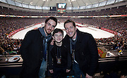 VANCOUVER, BC - MARCH 2: (L-R) Colin O'Donoghue, Jared Gilmore and Sean Maguire, Once Upon a Time cast members watch the 2014 Tim Hortons Heritage Classic game between the Ottawa Senators and the Vancouver Canucks at BC Place on March 2, 2014 in Vancouver, B.C., Canada.  (Photo by Kevin Light/NHLI via Getty Images)