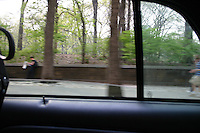 Driving past Central Park, New York