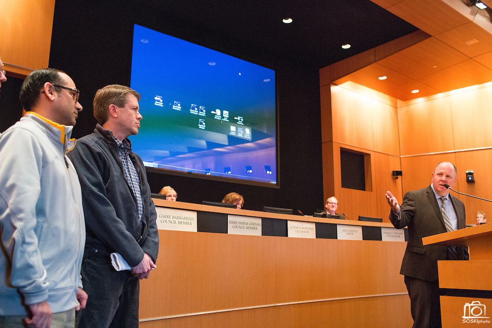 The Milpitas Post editor Robert Devincenzi thanks his staff and the City of Milpitas during the award presentation at City Hall in Milpitas, California, on April 21, 2015. (Stan Olszewski/SOSKIphoto)