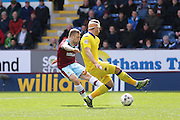 Burnley midfielder Scott Arfield (37) scores a goal and celebrates to make the score 1-0 during the Sky Bet Championship match between Burnley and Leeds United at Turf Moor, Burnley, England on 9 April 2016. Photo by Simon Davies.