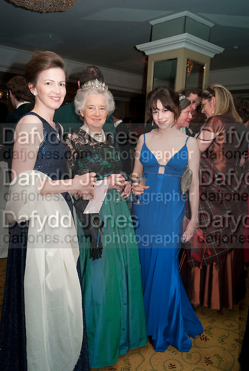 LADY EMMA MAHMOOD; COUNTESS OF ROSEBERY;  FRANCESCA LAMARQUE. The Royal Caledonian Ball 2010. Grosvenor House. Park Lane. London. 30 April 2010 *** Local Caption *** -DO NOT ARCHIVE-&copy; Copyright Photograph by Dafydd Jones. 248 Clapham Rd. London SW9 0PZ. Tel 0207 820 0771. www.dafjones.com.<br /> LADY EMMA MAHMOOD; COUNTESS OF ROSEBERY;  FRANCESCA LAMARQUE. The Royal Caledonian Ball 2010. Grosvenor House. Park Lane. London. 30 April 2010