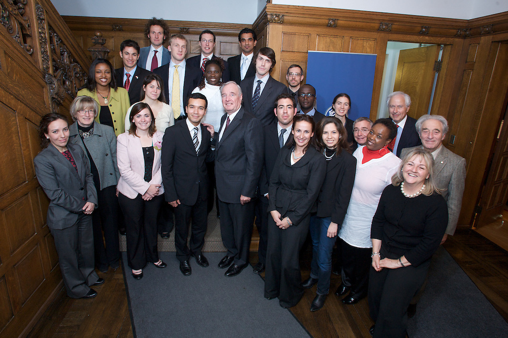 The Sauve Scholars meet with former Prime Minister Paul Martin at the Sauve Scholar Foundation in Montreal, Canada on October 19th, 2009