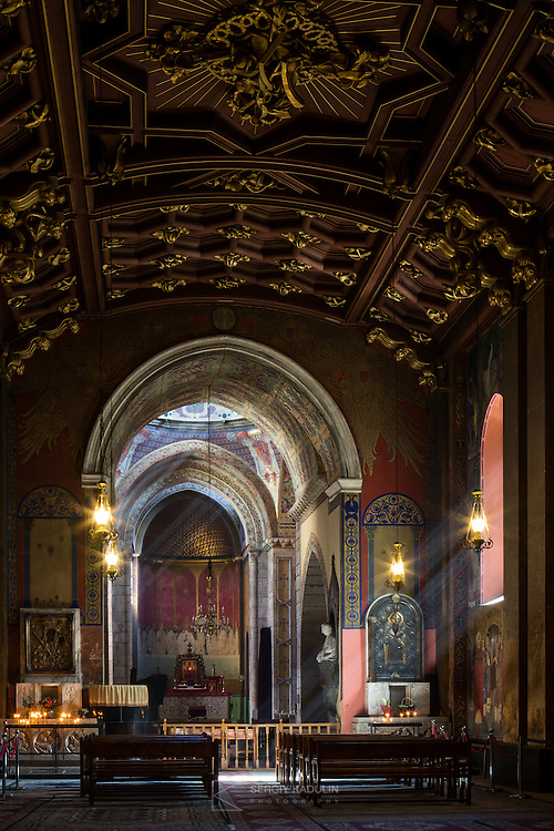 Interior of Armenian Cathedral of the Assumption of Mary. The cathedral is UNESCO site, historical monument.