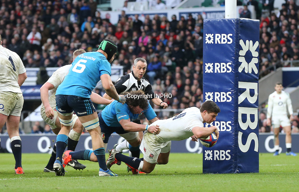 RBS 6 Nations Championship, Twickenham Stadium, London 14/2/2015<br /> England vs Italy <br /> England's Ben Youngs scores a try<br /> Mandatory Credit &copy;INPHO/Cathal Noonan