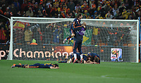 Spain Team Celebrate after the final whistle World Cup 2010<br /> Spain World Cup Champions 2010<br /> Holland V Spain (0-1) 11/07/10 The World Cup Final at Soccer City<br /> FIFA World Cup 2010<br /> Photo Robin Parker Fotosports International