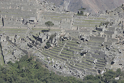 View of Machu Picchu ruins from Putukuis Mountain, near Machu Picchu Pueblo / Aguas Calientes, Peru<br />