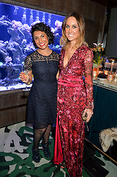 Left to right, JAYMI KANADIA and KATE LANGAN at a dinner hosted by Creme de la Mer to celebrate the launch of Genaissance de la Mer The Serum Essence held at Sexy Fish, Berkeley Square, London on 21st January 2016.