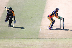 Mangaliso Mosehle of Gauteng breaks the stumps as Neil Botha of Boland makes his ground during the Africa T20 cup pool D match between Boland and Gauteng held at the Boland Park cricket ground in Paarl on the 25th September 2016.<br /> <br /> Photo by: Shaun Roy/ RealTime Images