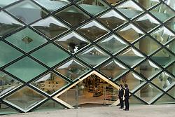 Futuristic glass walled Prada fashion boutique in Aoyama Tokyo