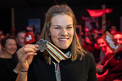 16.02.2019, Tirolberg, Aare, SWE, FIS Weltmeisterschaften Ski Alpin, Medaillenfeier, im Bild Silbermedaillengewinnerin Anna Swenn Larsson (SWE) // Silver medalist Anna Swenn Larsson of Sweden during a medal celebration for the FIS Ski World Championships 2019 at the Tirolberg in Aare, Sweden on 2019/02/16. EXPA Pictures © 2019, PhotoCredit: EXPA/ Johann Groder