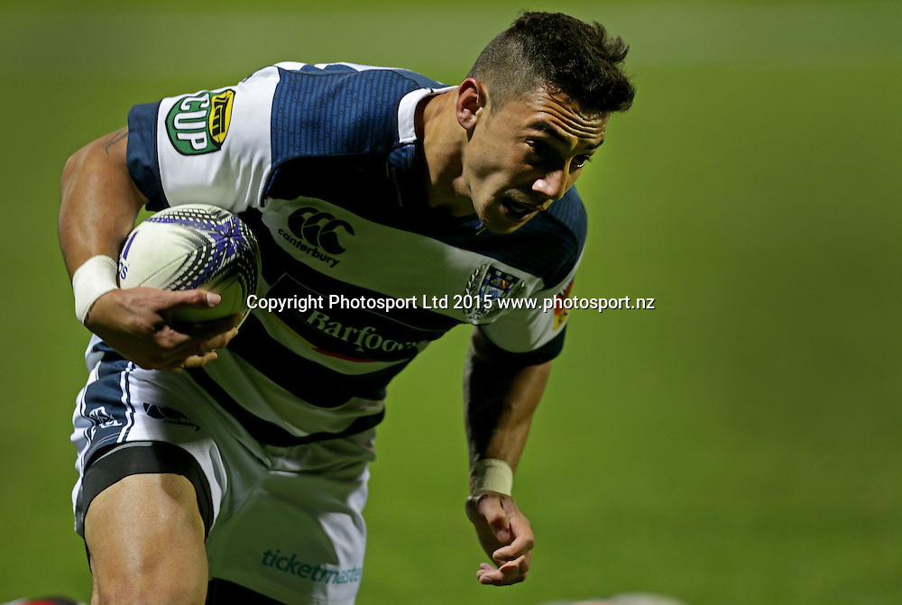 Auckland`s Bryce Heem dives to score a try in an ITM Cup Rugby Match, Counties Manukau v Auckland, Ecolight Stadium, Auckland, New Zealand, Saturday, October 10, 2015. Copyright photo: David Rowland / www.photosport.nz