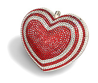 red and white jeweled heart clutch