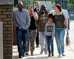 © Licensed to London News Pictures. 04/08/2015. <br /> LONDON, UK. Tia Sharp's mother and grandmother appear at Croydon Magistrates Court charged with racially aggravated offences. NATALIE SHARP (pictured, second left), 33 is charged with racially aggravated common assault and common assault, while Christine Bicknell, 49 is accused of a a racially aggravated public order offence and a public order offence, London, Tuesday 04 August 2015. Photo credit : Hannah McKay/LNP