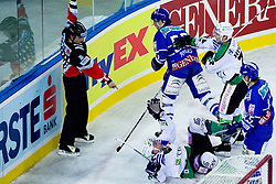 Petr Sachl (HDD Tilia Olimpija, #12) gets a penalty for interference on goalie during ice-hockey match between KHL Medvescak Zagreb and HDD Tilia Olimpija in 42nd Round of EBEL league, on Januar 25, 2011 at Arena Zagreb, Zagreb, Croatia. (Photo By Matic Klansek Velej / Sportida.com)