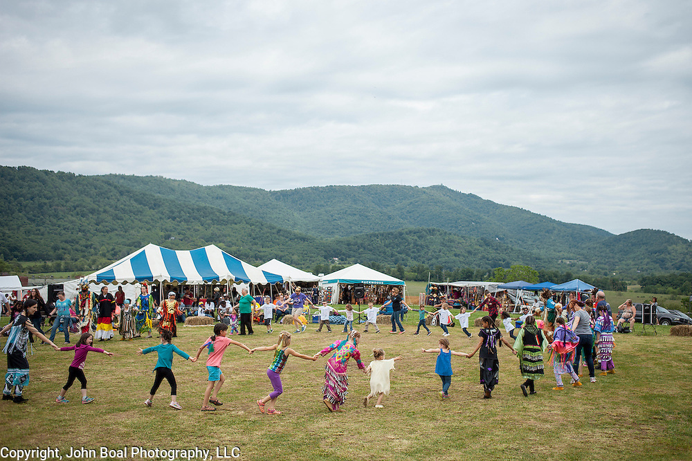 Circle dance during a Monacan Powwow, May 20, 2016. Powwows are the largest event in the Monacan calendar, providing the majority of the funding for the rest of the year's operations.