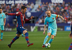 May 13, 2018 - Valencia, Valencia, Spain - Jose Campana of Levante UD and Andres Iniesta of FC Barcelona during the La Liga match between Levante and FC Barcelona, at Ciutat de Valencia Stadium, on may 13, 2018  (Credit Image: © Maria Jose Segovia/NurPhoto via ZUMA Press)