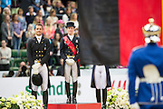 Podium Finale 1. Helen Langehanenberg - Damon Hill, 2. Edward Gal - Glock's Undercover, 3. Adelinde Cornelissen - Jerich Parzival<br /> Reem Acra FEI World Cup Final 2013<br /> © DigiShots